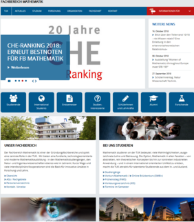 Ansicht Homepage FB Mathematik in neuem Design